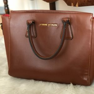 Adrienne Vittadini Brown Leather Work/Travel Tote